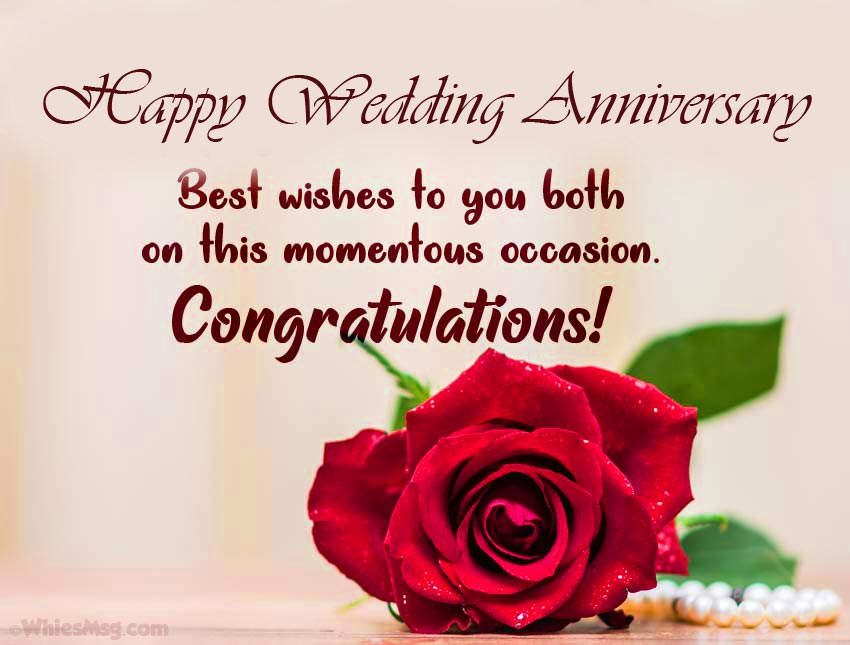 Happy Wedding Anniversary Message with Red Rose