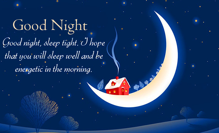 House on Moon with Good Night Greeting