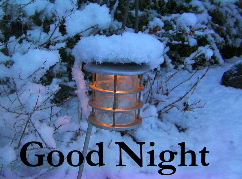 Lamp Ligt in Snow with Good Night Wish
