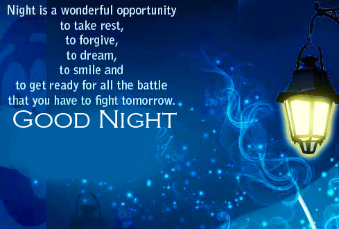 Lantern with Night Quotes and Good Night Wish
