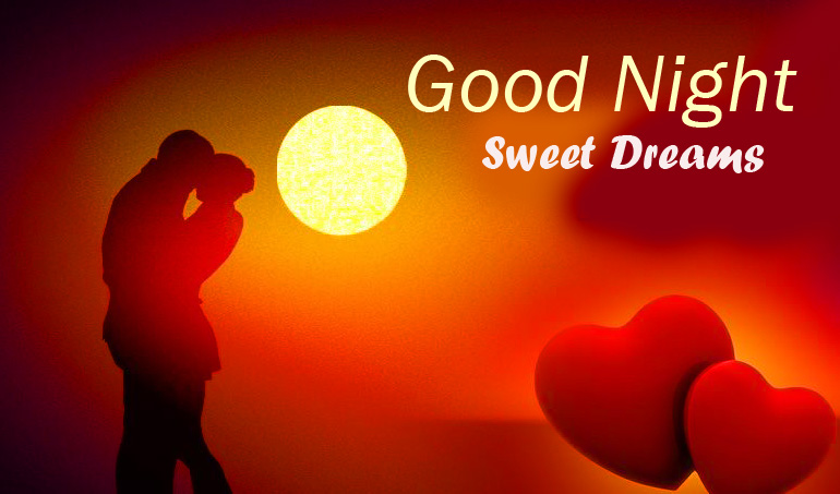 Love Couple and Hearts Good Night Sweet Dreams Wallpaper