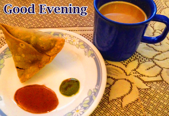 Lovely Chai and Samosa Good Evening Image
