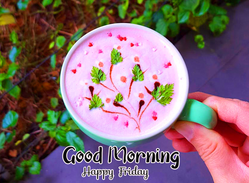 Lovely Latte Art with Good Morning Happy Friday Wish
