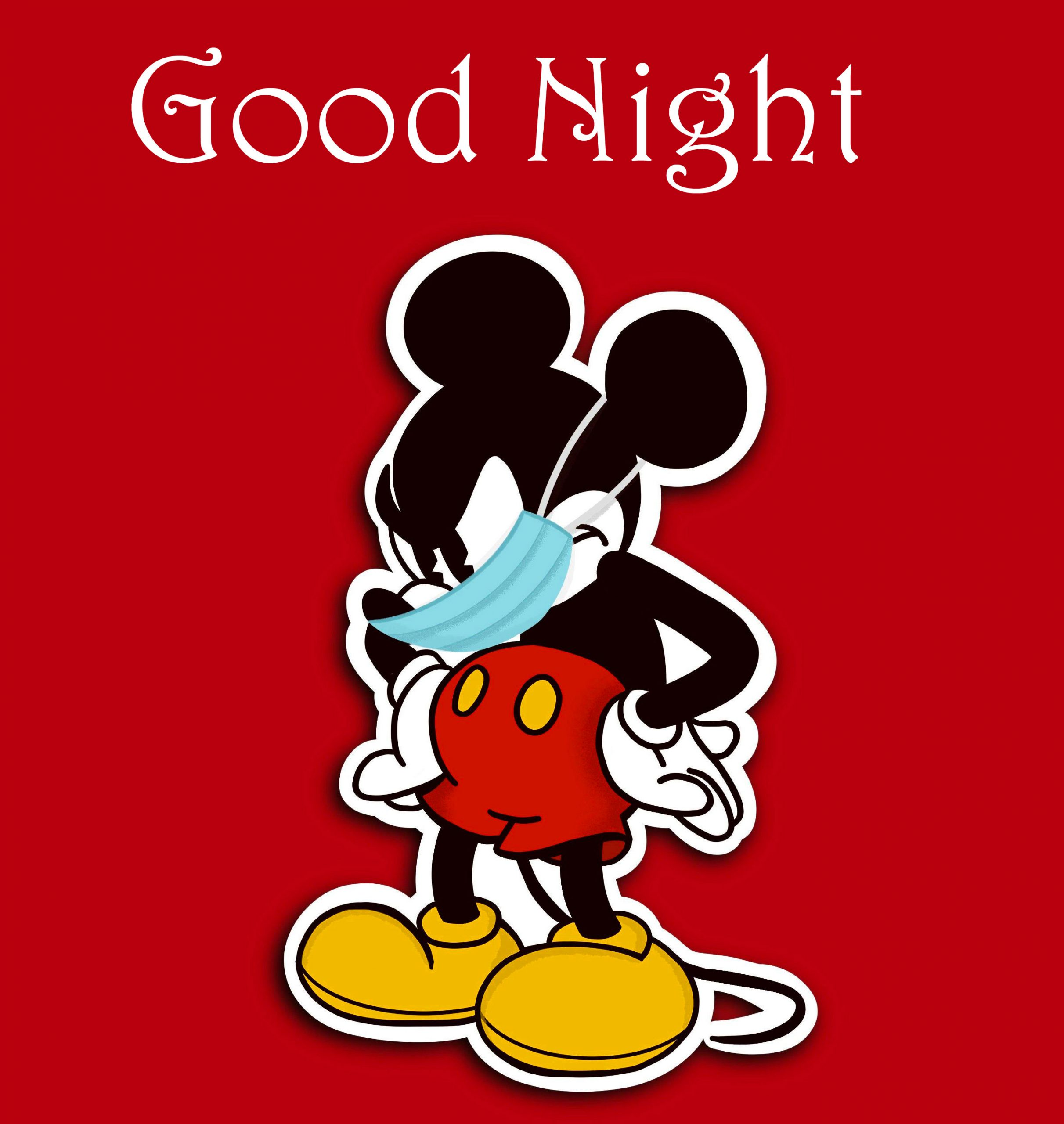 Lovely Mickey Mouse with Mask and Good Night Wish