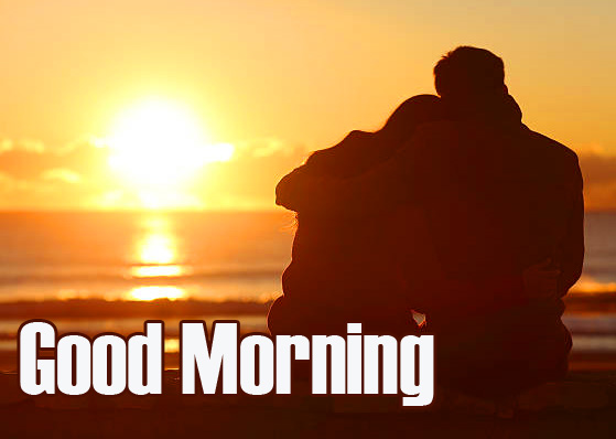 Lover on Beach with Good Morning Message
