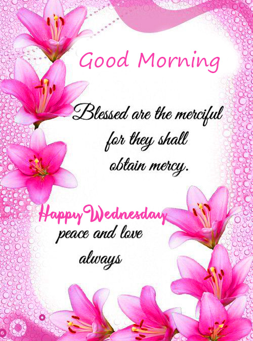 Lovey Floral Blessing Good Morning Happy Wednesday Image