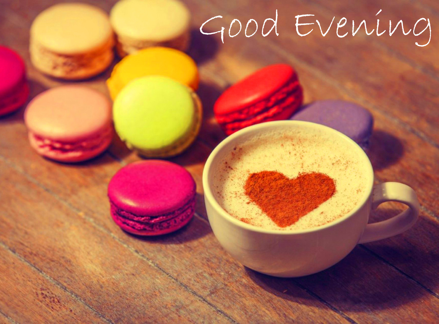 Macarons and Heart Coffee with Good Evening Wish
