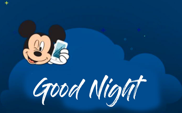 Mickey Mouse in Night with Good Night Wish