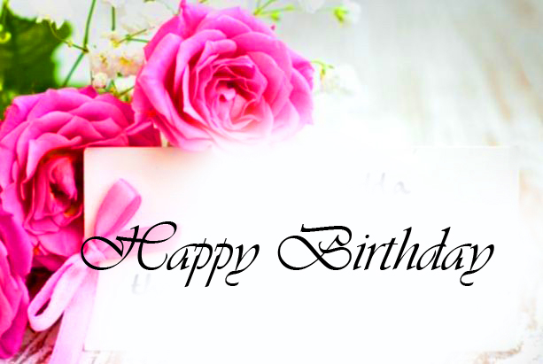 Pink Roses with Happy Birthday Card