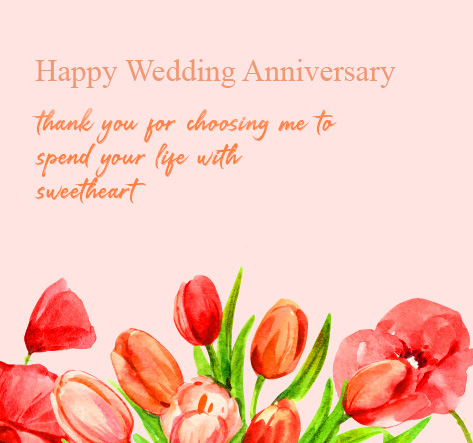 Red Flowers Painting with Quotes and Happy Wedding Anniversary Wish