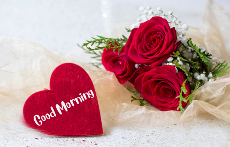 Red Heart Good Morning Image with Roses