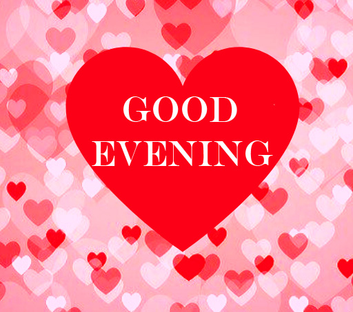 Red Heart with Hearts and Good Evening Wish