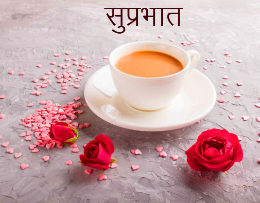 Red Rose and Tea with Suprabhat Wish