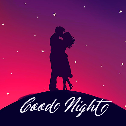 Romantic Couple in Night with Good Night Greeting