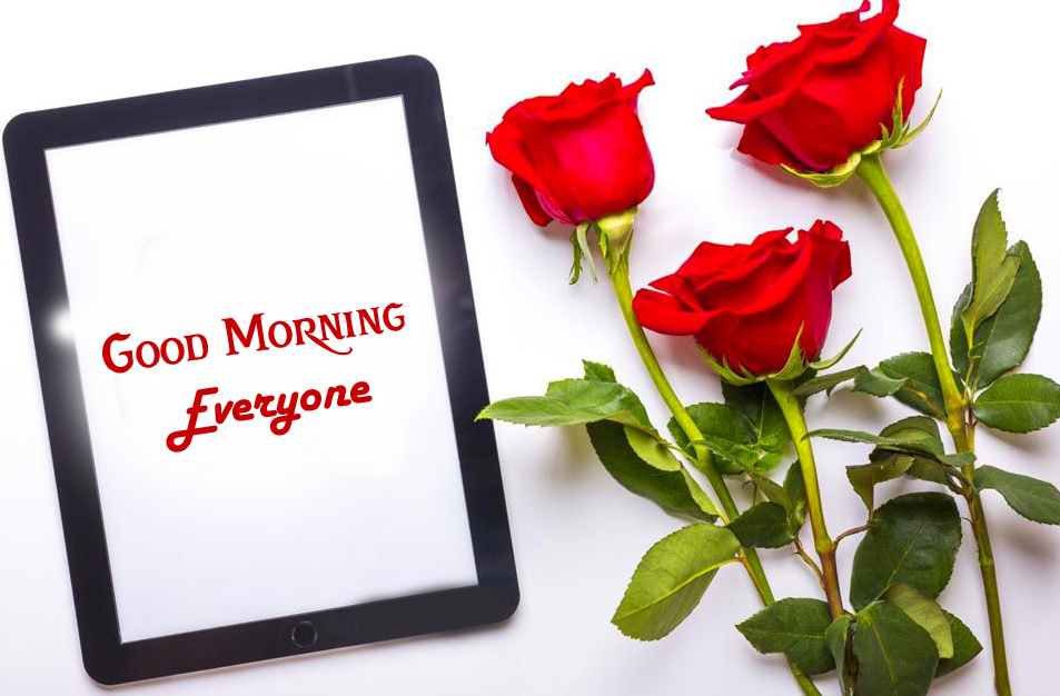 Roses with Good Morning Everyone Frame