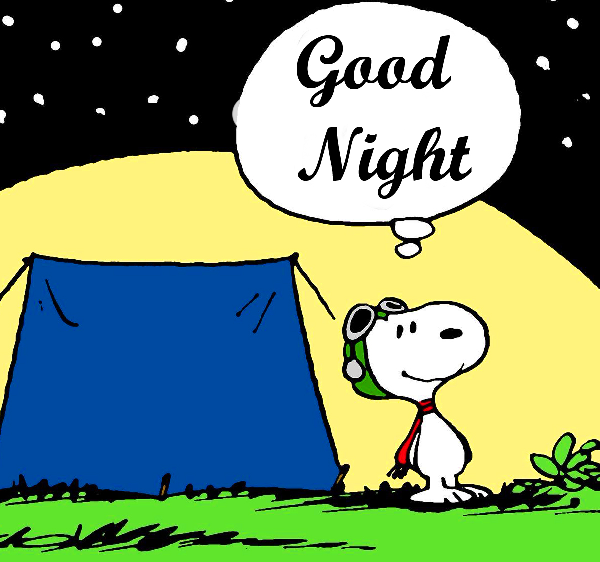 Snoopy with Tent and Good Night Wish