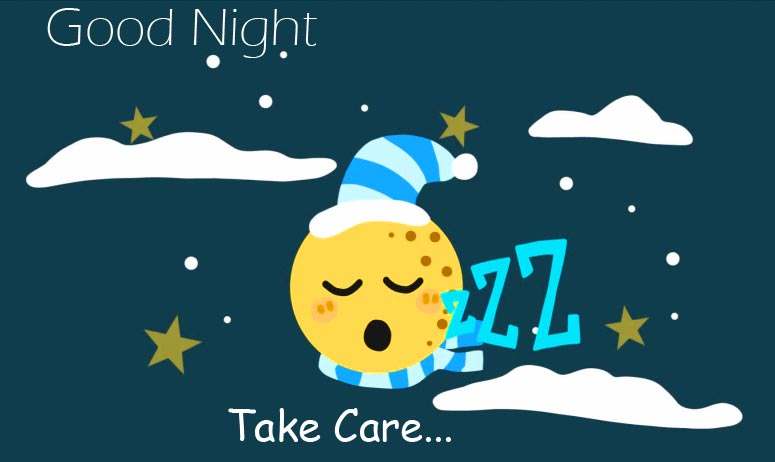 Snoozing Moon with Good Night Take Care Message