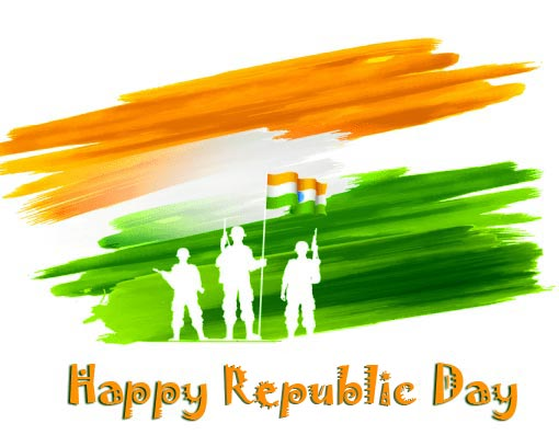 Soldiers Tri Color with Happy Republic Day Wish