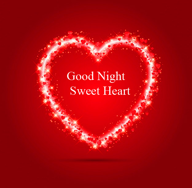 Sparkle Red Heart Good Night Sweet Heart Pic