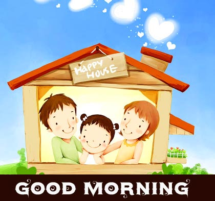 Sweet Animated Family Pic with Good Morning Wish