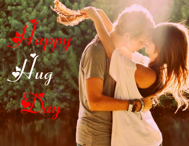 Sweet Couple Hugging with Happy Hug Day Message