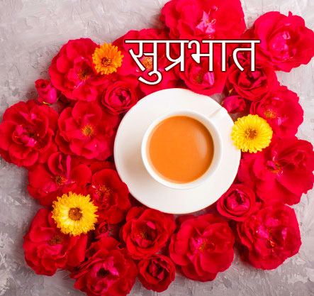 Tea Cup with Red Flowers and Suprabhat Wish