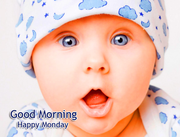 Baby Pic with Good Morning Happy Monday Wish