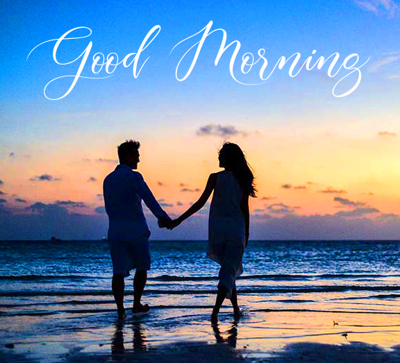 Beach Couple Good Morning Picture