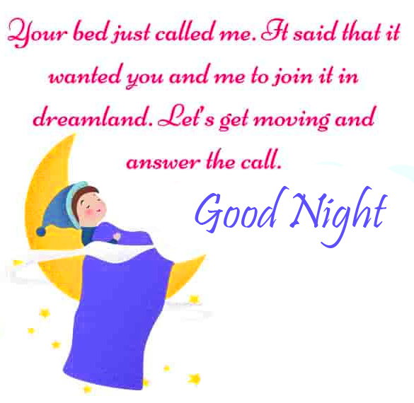 Cartoon Blessing Good Night Quote Pic