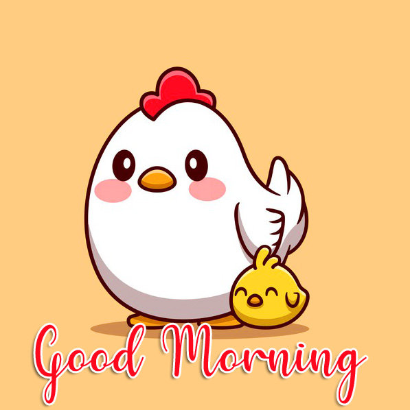 Chick and Hen Cartoon Good Morning Image