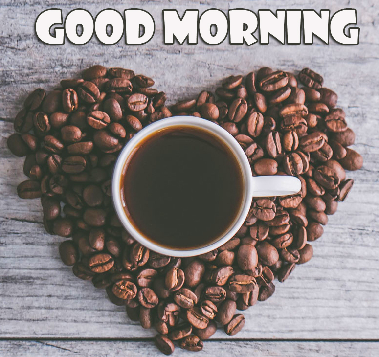 Coffee Cup on Heart with Good Morning Wish