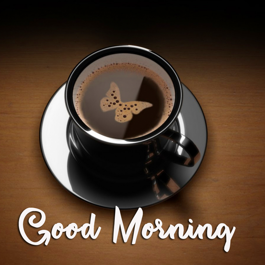 Coffee with Butterfly and Good Morning Wish
