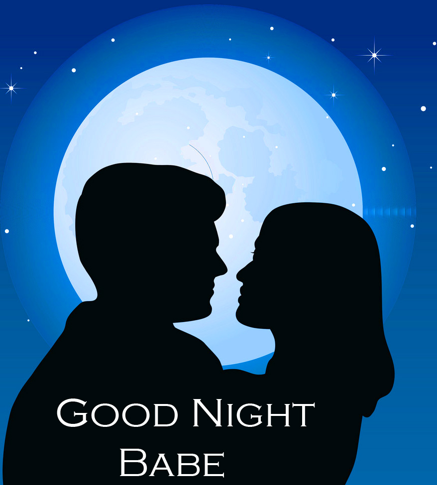Couple in Night with Good Night Babe Wish