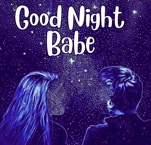 Creative Couple Pic with Good Night Babe Wish