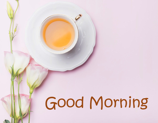 Cute Tea and Flowers Good Morning Image