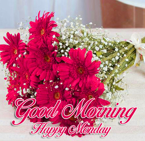 Flowers Bunch with Good Morning Happy Monday Wish