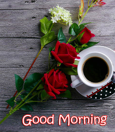 Flowers and Coffee Good Morning Image