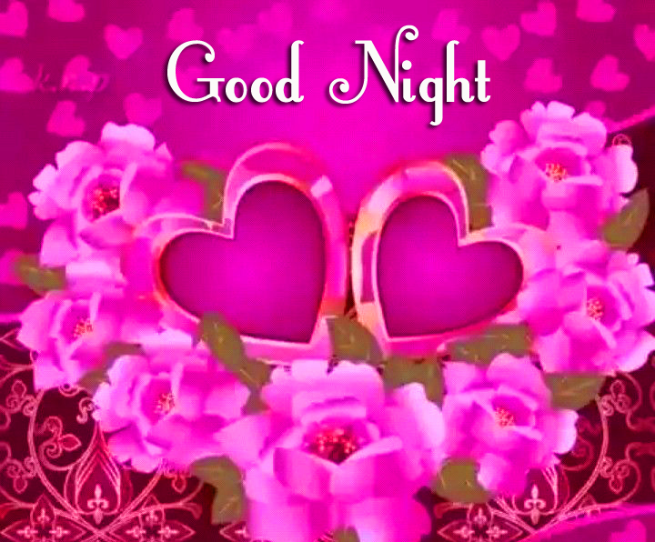 Flowers and Hearts with Good Night Wish