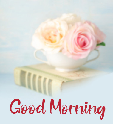 Flowers in Cup with Good Morning Wish