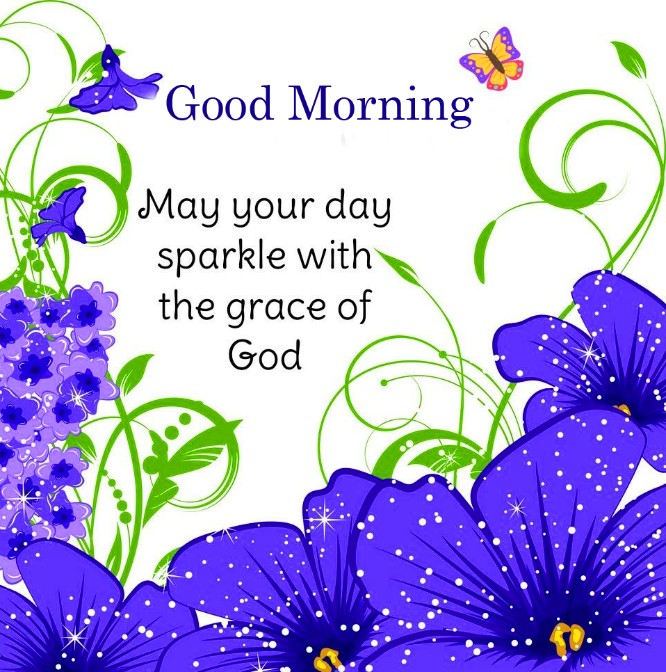 Flowers with Blessing Good Morning Quote
