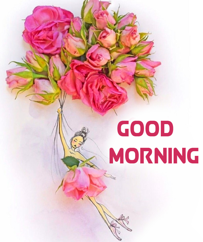 Flowers with Flying Girl Creative Pic and Good Morning Wish