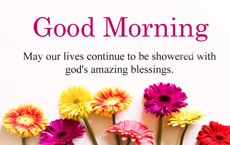 Flowers with God Blessing and Good Morning Wish