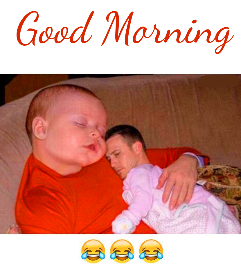 Funny Latest Man and Baby Good Morning Image