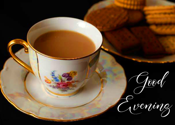 Good Evening Wish with Tea and Snack