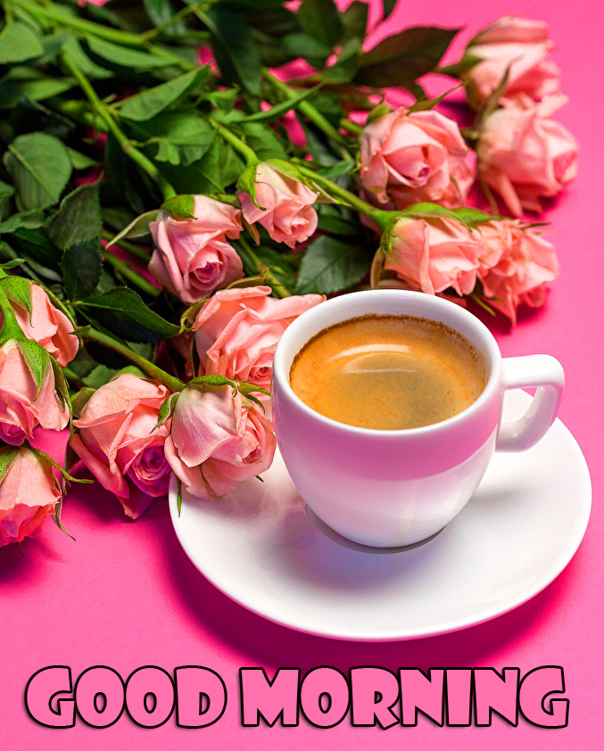Good Morning Wish with Coffee and Flowers