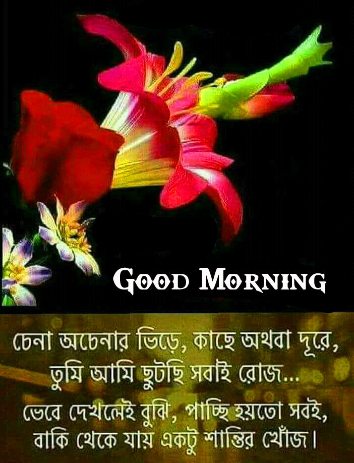 Good Morning Wish with Flowers and Bengali Quote
