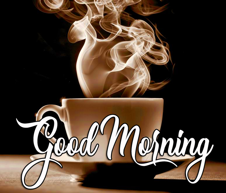 Good Morning with Steaming Coffee Pic