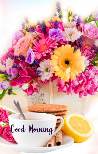 HD Flowers and Coffee Good Morning Image