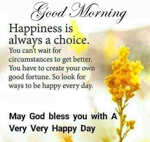 Happiness God Blessing Quote Good Morning Image