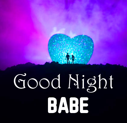Heart with Couple and Good Night Babe Wish